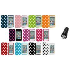 Polka Dot TPU Color Rubber Skin Case Cover+2.1A Charger for Apple iPhone 4 4S 4G