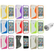TPU Color Clear S-Shape S-Line Rubber Case Cover+USB Charger for iPhone 4S 4G 4