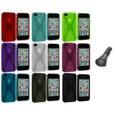 X-Line TPU Rubber Skin Case Cover+Car Charger for iPhone 4 4S 4G Accessory