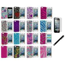 Color Diamond Rhinestone Bling Cute Case Cover+LCD Film+Stylus for iPhone 5 5S