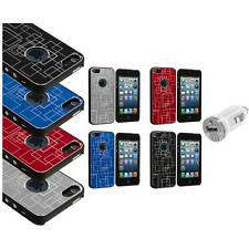 Brushed Metal Aluminum Grid Robot Texture Case Cover+USB Charger for iPhone 5 5S