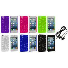 Abstract Polygon 3D Diamond Ultra Thin Case Cover+Headphones for iPhone 5 5S