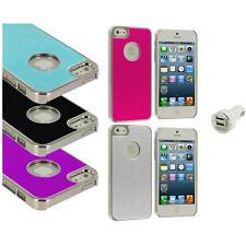 Aluminium Brushed Metal Color Hard Ultra Thin Case+Dual Charger For iPhone 5 5S