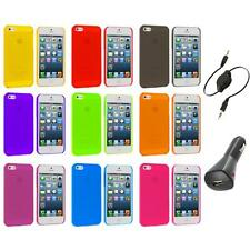 Ultra Thin 0.5mm Color Transparent Matte Case Cover+Aux+Charger for iPhone 5 5S