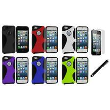 Color 5-Point Hybrid Hard/Soft Case Cover+LCD Film+Stylus for iPhone 5 5S