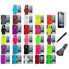 Hybrid Mesh Hard/Soft Case Cover+LCD+Charger+Pen for iPhone 5 5S Accessory