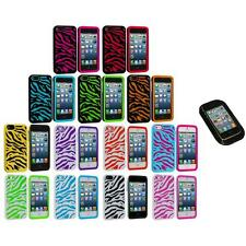 Zebra Hybrid 2-Piece Hard/Soft Case Skin Cover+Sticky Pad for iPhone 5 5S 5th