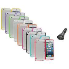 Color Clear Robot Crystal Hard Snap-On Case Cover+Car Charger for iPhone 5 5S