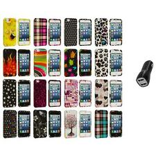 Design Color Hard Snap-On Rubberized Case Cover+2.1A Charger for iPhone 5 5S