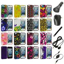Color Design Hard Snap-On Rubberized Case Cover+Accessories for iPhone 5 5S