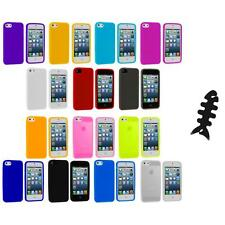 Color Silicone Gel Rubber Soft Skin Case Cover+Cable Wrap for iPhone 5 5S