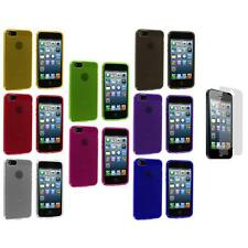 Fingerprint Circle TPU Rubber Jelly Case Cover+3X LCD Protector for iPhone 5 5S