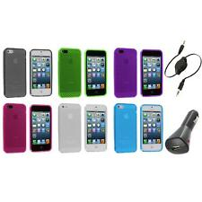 TPU Mesh Perforated Color Rubber Skin Case Cover+Aux+Charger for iPhone 5 5S 5th
