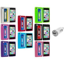 For Apple iPhone 5C Silicone Case Cassette Retro Tape Cover Gel+USB Charger