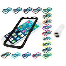 For Apple iPhone 6 (4.7) TPU Bumper Frame Metal Buttons Case Car Charger