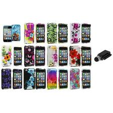 Flower Design Hard Case Cover Accessory+Dock Stylus for iPod Touch 4th Gen 4G 4