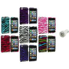 Zebra Design Hard Case Cover Accessory+Dual Charger for iPod Touch 4th Gen 4G 4
