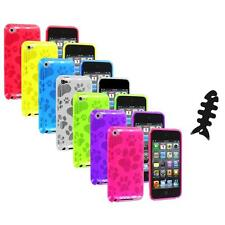 TPU Dog Paw Color Skin Case Cover+Cable Wrap for Apple iPod Touch 4th Gen 4G 4