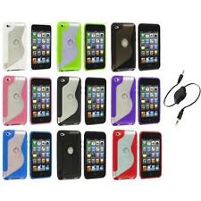 TPU S-Line Deluxe Rubber Case Cover+Aux Cable for iPod Touch 4th Gen 4G 4