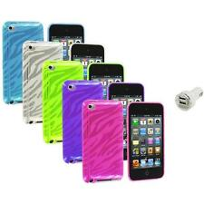 TPU Zebra Rubber Skin Case Cover+Dual Charger for iPod Touch 4th Gen 4G 4