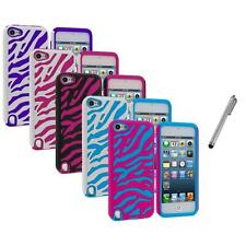 Zebra Hybrid Hard Soft Case Cover+Metal Pen for iPod Touch 5th Gen 5G