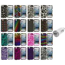 Zebra Polka Dot Hard Design Case Cover+USB Charger for iPod Touch 5th Gen 5G