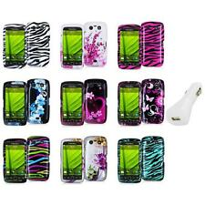 Design Hard Case Cover Accessory+White Charger for Blackberry Torch 9850 9860