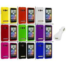 Color Hard Snap-On Rubberized Case Cover+White Charger for HTC Sprint EVO 4G