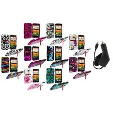 Design Hard Snap-On Case Cover Accessory+Charger for HTC EVO 4G LTE Sprint