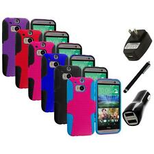 For HTC One M8 New Hybrid Mesh Rugged Shockproof Case Cover Charger+Stylus