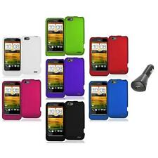 Color Hard Snap-On Rubberized Case Cover Accessory+Car Charger for HTC One V