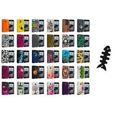 For LG Optimus F6 Hard Design Snap-On Rubberized Skin Case Cover Cable Wrap