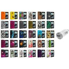 For LG Optimus F6 Hard Design Snap-On Rubberized Skin Case Cover USB Charger