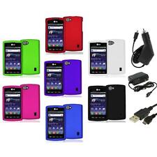 Color Hard Snap-On Skin Case Cover+3X Chargers for LG Optimus M+ Plus MS695