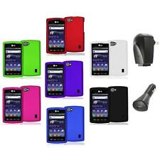Color Hard Snap-On Skin Case Cover+2X Chargers for LG Optimus M+ Plus MS695