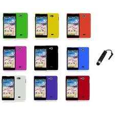 For LG Spirit 4G MS870 Color Hard Snap-On Rubberized Case Cover+Stylus Plug