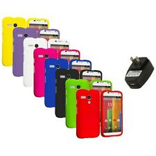 For Motorola Moto G Hard Rubberized Matte Snap-On Case Cover Wall Charger