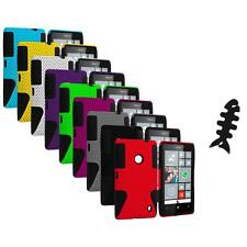For Nokia Lumia 520 Hybrid Mesh Hard/Soft Silicone Color Case Cover+Cable Wrap