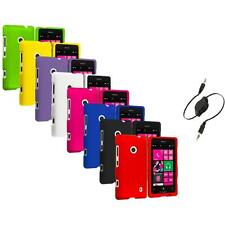 For Nokia Lumia 521 Snap-On Hard Rubberized Matte Case Cover Aux Cable