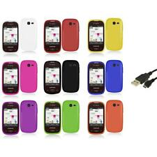 For Samsung Gravity Q Hard Snap-On Rubberized Case Cover Accessory+USB Cable