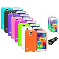 For Samsung Galaxy S5 SV TPU Transparent Soft Case Cover + LCD Film+Charger