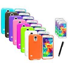 For Samsung Galaxy S5 SV TPU Transparent Soft Case Cover + Stylus+3X Film