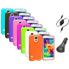 For Samsung Galaxy S5 SV TPU Transparent Color Soft Case Cover+Aux+Charger