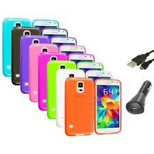 For Samsung Galaxy S5 SV TPU Transparent Color Soft Case Cover+Charger+USB