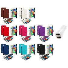 For Samsung Galaxy S5 Leather Wallet Leather Pouch Case Cover Car Charger