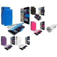 For Sony Xperia Z1 Wallet Flip Pouch Case Cover Accessory USB Charger