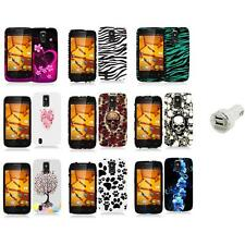 For ZTE Force N9100 Hard Design Rubberized Case Cover Accessory+Dual Charger
