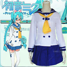 Student uniform Lolita Girls Dress Hatsune Miku VOCALOID Anime Cosplay Costume