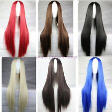 Long Curly Straight Full Wig Cosplay Party Fancy Dress Black Blonde Red Pink N42