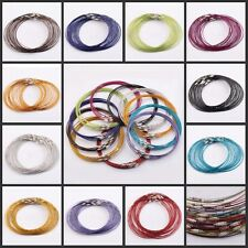 10/100Pcs1mm  Wire Cable Steel Chain Stainless Charms 45cm Cords Necklace
